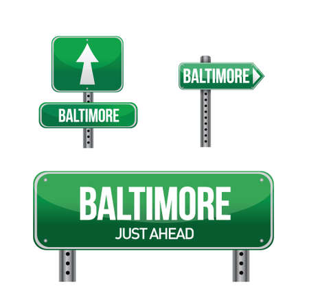Baltimore city road sign illustration design over white Stock Vector - 18324221