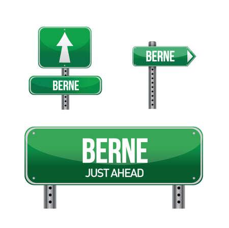 Berne city road sign illustration design over white