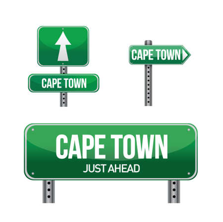 cape town: cape town city road sign illustration design over white Illustration