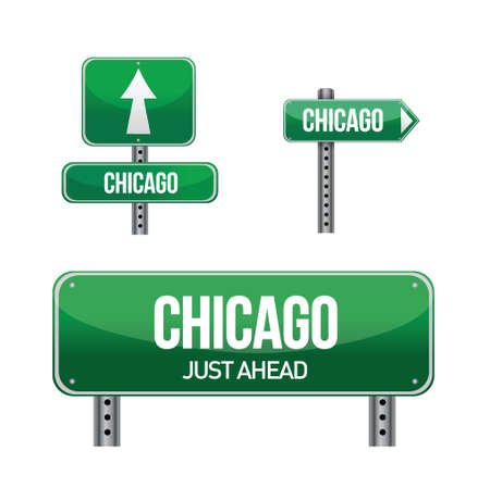 chicago city road sign illustration design over white Illustration