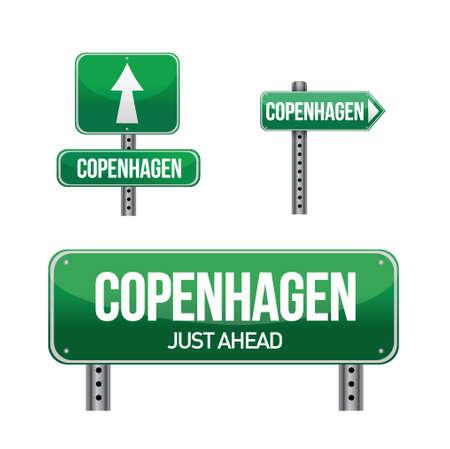 aria: Copenhagen City se�al de tr�fico ilustraci�n, dise�o en blanco Vectores