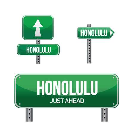 aria: honolulu city road sign illustration design over white