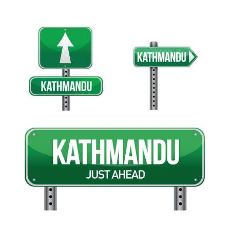 kathmandu city road sign illustration design over white Иллюстрация