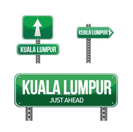 aria: ciudad de Kuala Lumpur carretera signo ilustraci�n, dise�o en blanco