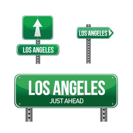aria: Los Angeles de la ciudad por carretera signo ilustraci�n, dise�o en blanco
