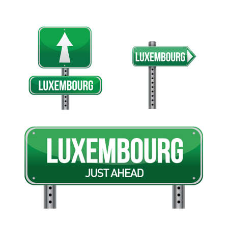 luxembourg city road sign illustration design over white