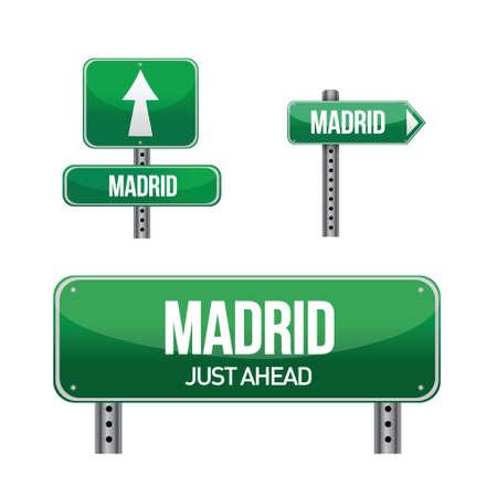 Madrid spain city road sign illustration design over white