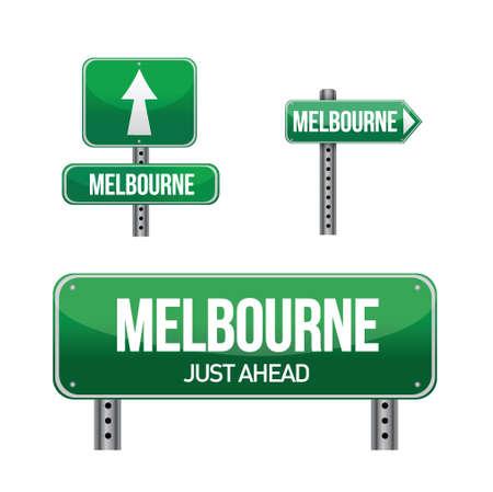 melbourne city road sign illustration design over white