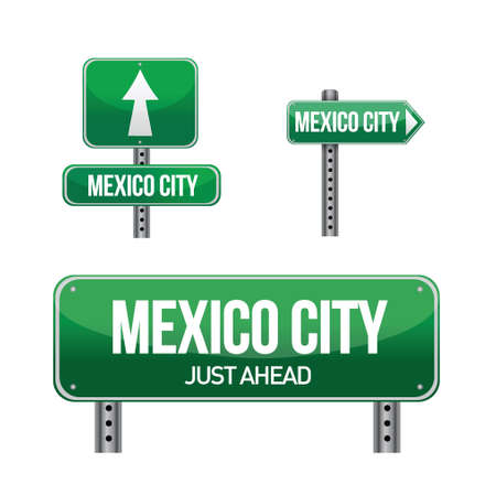 Mexico city road sign illustration design over white Vector