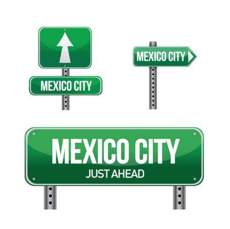 mexico city: Mexico city road sign illustration design over white