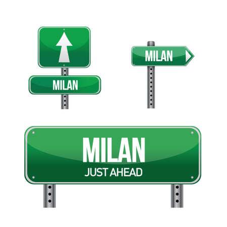 aria: Milan carretera ciudad ilustraci�n muestra el dise�o en blanco