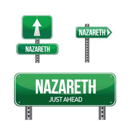 nazareth: nazareth city road sign illustration design over white
