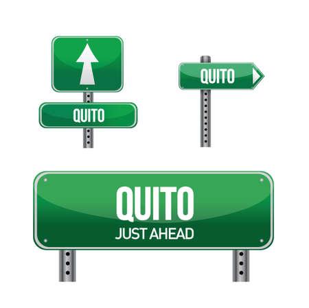 quito ecuador city road sign illustration design over white