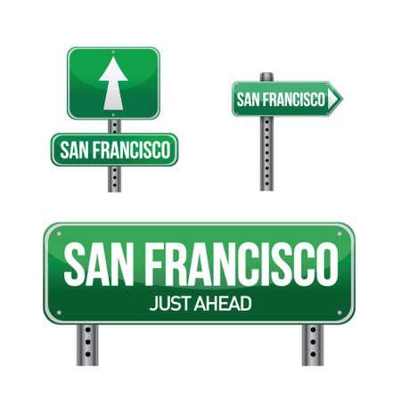 San Francisco city road sign illustration design over white