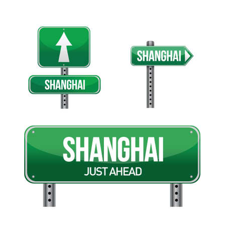 shanghai city road sign illustration design over white