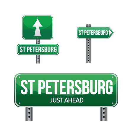 saint petersburg: saint petersburg city road sign illustration design over white