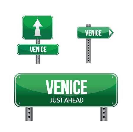 venice city road sign illustration design over white
