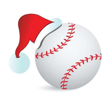 白い背景の上の野球サンタ キャップ イラスト デザイン  イラスト・ベクター素材