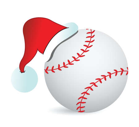 santa cap: Baseball Santa Cap illustration design over a white background Illustration