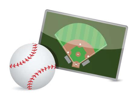 baseball field: Baseball field tactic table, Baseball balls illustration design over white