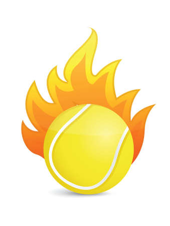 Tennis Ball in fire illustration design over a white background Vector