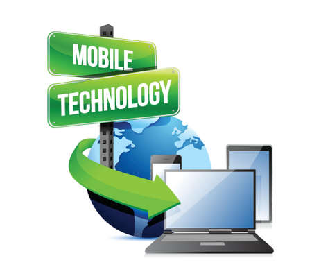 electronic devices: Electronic devices mobile technology illustration design