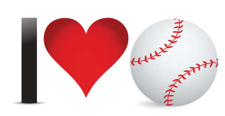 I love Baseball, Heart with Baseball Ball Inside illustration design Фото со стока - 18427805