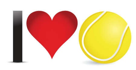 I love Tennis, Heart with Tennis Ball Inside illustration design Иллюстрация