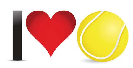 Ik hou van tennis, Hart met Bal van het Tennis Inside illustratie ontwerp