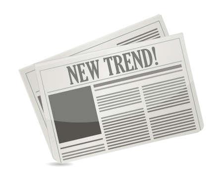 New Trend newspaper illustration design over white Stock Vector - 18427828