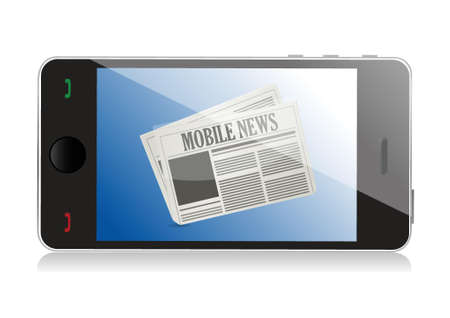 article marketing: Smart phone with mobile news illustration design over white