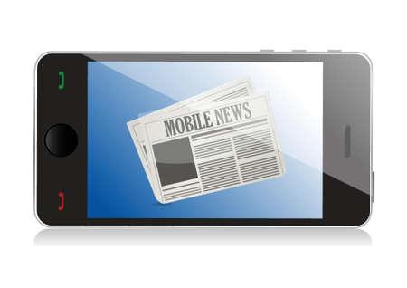 Smart phone with mobile news illustration design over white