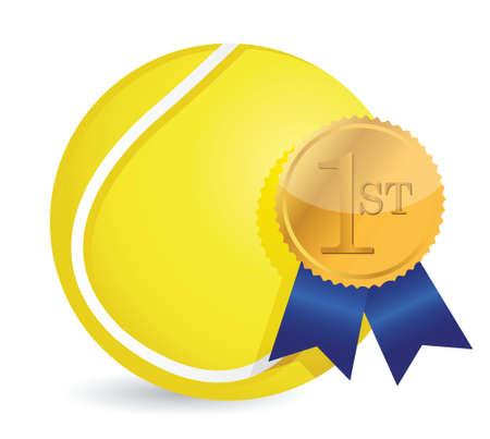 league: Tennis ball with award illustration design over white Illustration