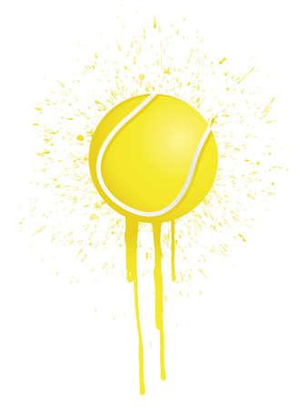 tennis ball: ink splatter tennis illustration design over white