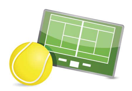 Campo de tenis t�ctica de mesa, pelotas de tenis, ilustraci�n, dise�o, encima, blanco