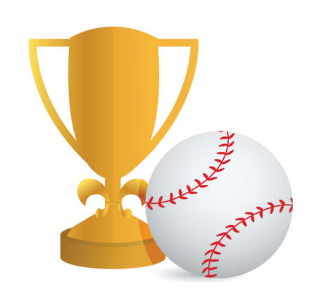 Gold Trophy Cup Baseball on a white background Ilustração