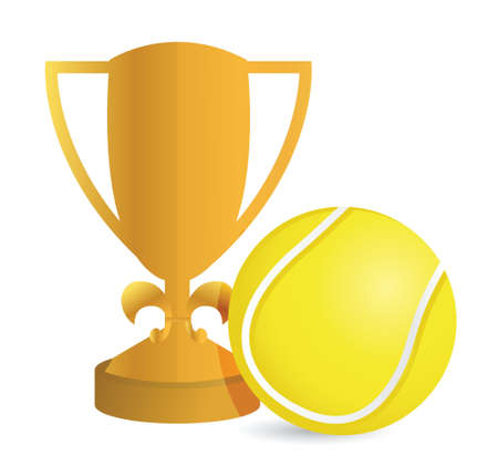Gold Trophy Cup Tennis on a white background Stock Vector - 18427901