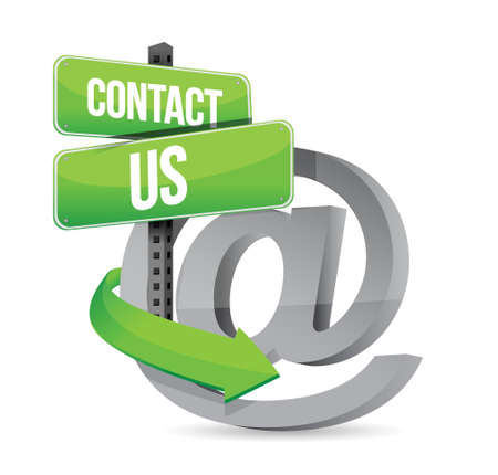 email contact: E mail contact us at sign illustration design over white