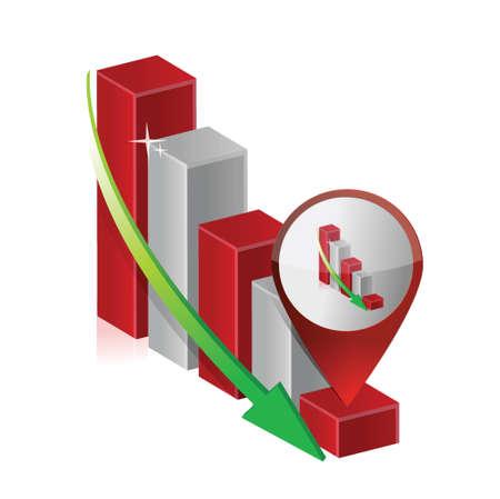 vallen grafiek grafiek locatie aanwijzer illustratie ontwerp over wit Stock Illustratie