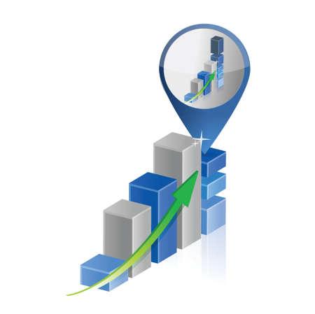 success business graph chart location pointer illustration design