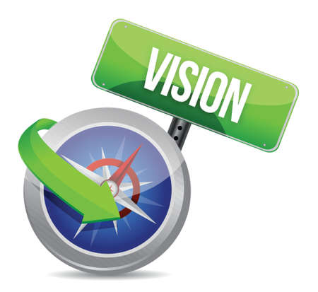 vision on a compass illustration design over white Vector