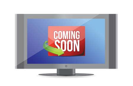 Coming soon on tv screen illustration design over white