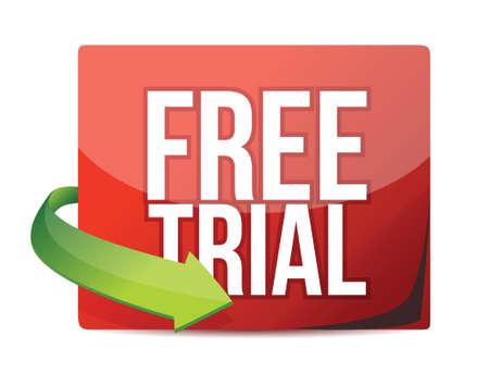 free trial: free trial arrow label illustration design over white Illustration