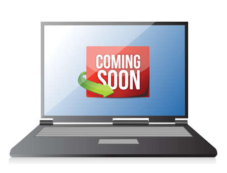 laptop Coming soon message illustration design over a white background Vettoriali