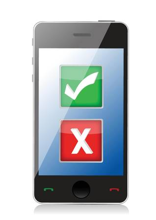 checklist: Mobile phone with check and x marks selection illustration design over white