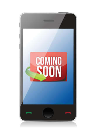 smartphone icon: phone Coming soon message illustration design over a white background