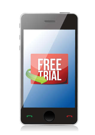 largess: phone free trial message illustration design over white
