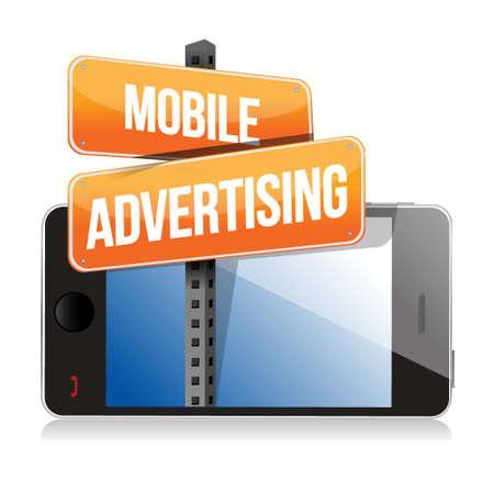 mobile smart phone. Mobile advertising sign illustration design over white Stock Vector - 18427928