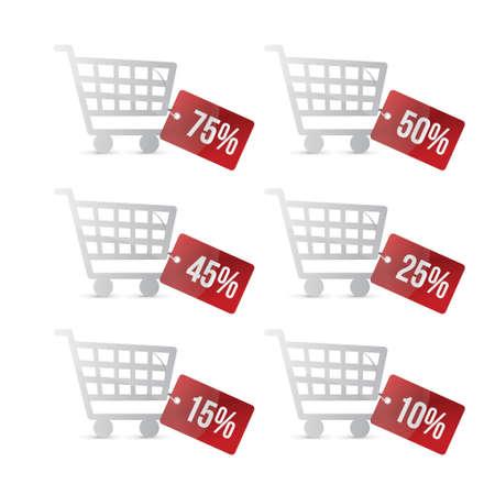 supermarket shopping cart: supermercado carrito de compras con descuento dise�o ilustraci�n etiquetas en blanco Vectores