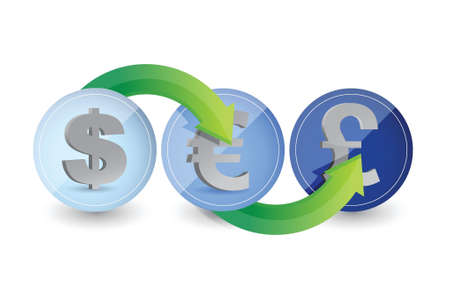 One two three currency steps illustration design over white Stock Vector - 18427894